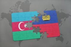 imbarazzi con la bandiera nazionale dell'Azerbaijan e del Liechtenstein su un fondo della mappa di mondo Fotografie Stock Libere da Diritti