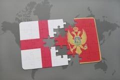 imbarazzi con la bandiera nazionale dell'Inghilterra e del Montenegro su un fondo della mappa di mondo Immagine Stock