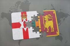 imbarazzi con la bandiera nazionale dell'Irlanda del Nord e della Sri Lanka su una mappa di mondo Fotografie Stock