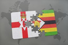 imbarazzi con la bandiera nazionale dell'Irlanda del Nord e dello Zimbabwe su una mappa di mondo Immagine Stock