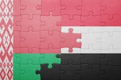 imbarazzi con la bandiera nazionale della Bielorussia e del Yemen Immagine Stock Libera da Diritti