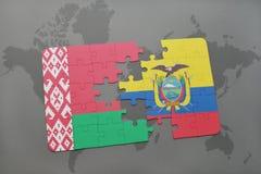 imbarazzi con la bandiera nazionale della Bielorussia e dell'Ecuador su una mappa di mondo Fotografia Stock