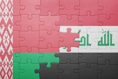 imbarazzi con la bandiera nazionale della Bielorussia e dell'Iraq Fotografia Stock