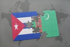 imbarazzi con la bandiera nazionale della Cuba e del Turkmenistan su un fondo della mappa di mondo Fotografie Stock