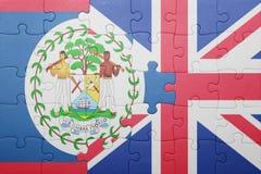 Imbarazzi con la bandiera nazionale della Gran Bretagna e di Belize Immagine Stock