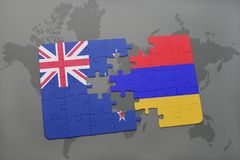 imbarazzi con la bandiera nazionale della Nuova Zelanda e dell'Armenia su un fondo della mappa di mondo Fotografia Stock
