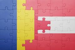 Imbarazzi con la bandiera nazionale della Romania e dell'Austria Fotografia Stock Libera da Diritti