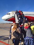 Imbarcando sull'aereo Immagine Stock