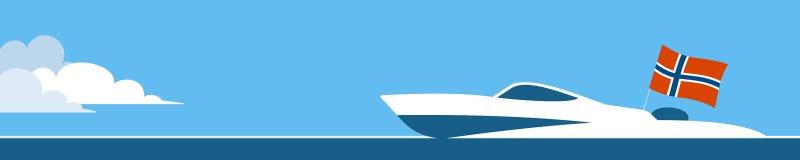 Imbarcazione a motore con la bandiera norvegese Fotografia Stock Libera da Diritti