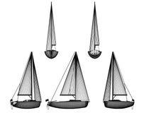 Imbarcazione a motore con la vela Immagine Stock