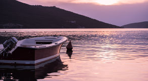 Imbarcazione a motore sul tramonto Fotografie Stock Libere da Diritti