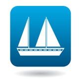 Imbarcazione a vela con un'icona di due alberi, stile piano illustrazione di stock
