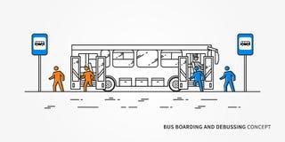 Imbarco del bus ed illustrazione debussing di vettore Immagini Stock