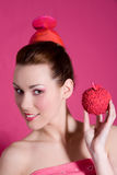 Imbiß klug, essen einen Apfel Stockbild