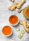 Imbirowa herbata i miód zdjęcia stock