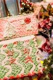 Imbirowi chlebów domy w boże narodzenie pokazie Zdjęcia Royalty Free