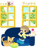 Imbisse mit einer Katze Lizenzfreies Stockbild