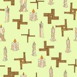 Imbolc άνευ ραφής με τα κεριά και brigid το σταυρό διανυσματική απεικόνιση