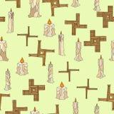 Imbolc άνευ ραφής με τα κεριά και brigid το σταυρό απεικόνιση αποθεμάτων