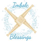 Imbolc Blessings beginning of spring pagan holiday text in a wreath of snowflakes with Brigid Cross. Vector postcard stock illustration