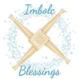 Imbolc-Segenanfang des heidnischen Feiertagstextes des Frühlinges in einem Kranz von Schneeflocken mit Brigid Cross Vektorpostkar stock abbildung