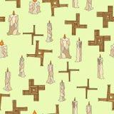 Imbolc sem emenda com velas e cruz do brigid ilustração stock