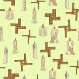 Imbolc sem emenda com velas e cruz do brigid ilustração royalty free