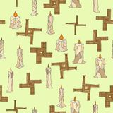 Imbolc sem emenda com velas e cruz do brigid ilustração do vetor