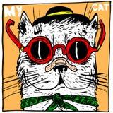 Imbroglione del gatto, indossando un cappello ed i vetri Un'immagine divertente per una stampa sulle merci di una maglietta, del  illustrazione vettoriale