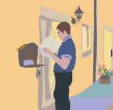 Imediatamente após recepção de uma letra no correio, leia o messa ilustração do vetor