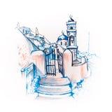 Imerovigli Anastasi Church di Santorini, Grecia royalty illustrazione gratis