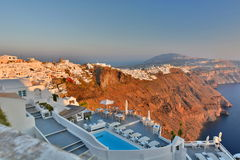 Imerovigli et Fira Santorini, îles de Cyclades La Grèce Photographie stock libre de droits