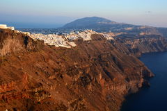 Imerovigli and Fira. Santorini, Cyclades islands. Greece. Santorini  is an island in the southern Aegean Sea. It forms the southernmost member of the Cyclades Stock Photos