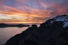 Imerovigli-Sonnenuntergang, Cyclade Isands stockbilder