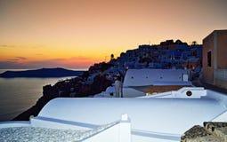 Imerovigli town at twilight Santorini island Greece Stock Image