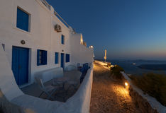 Imerovigli village at night Santorini Royalty Free Stock Photography