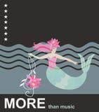 Imersão na música A sereia bonito dos desenhos animados com clave de sol no formulário dos lótus, ondas do mar, protagoniza no cé ilustração do vetor