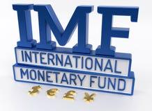 IMF -国际货币基金组织,世界银行- 3D回报 库存例证
