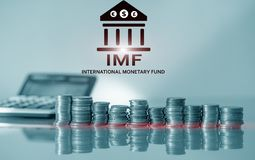 IMF Międzynarodowy fundusz monetarny Finanse i bankowości pojęcie obraz stock
