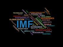 IMF - ordmolnwordcloud - uttryck från den globalisering-, ekonomi- och politikmiljön stock illustrationer