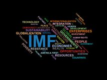 IMF - word cloud wordcloud - terms from the globalization, economy and policy environment. Wordcloud with series of terms from the globalization, economy and Stock Photography