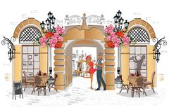 Series of backgrounds decorated with flowers, old town views and street cafes. Hand drawn vector architectural background royalty free illustration