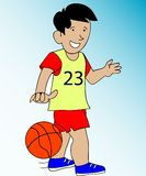 Img_32b. Abstract illustration of a boy playing ball Royalty Free Stock Image