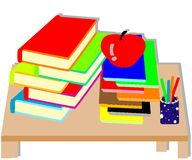 Img_33b. Abstract illustration a set of books and an apple Royalty Free Stock Photography