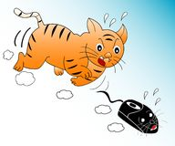 Img_34b. Abstract illustration of a cat chasing a computer mouse Royalty Free Stock Image