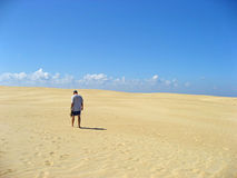 Man walking alone in sand Royalty Free Stock Photo