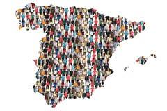 Imigração multicultural da integração do grupo de pessoas do mapa da Espanha imagem de stock