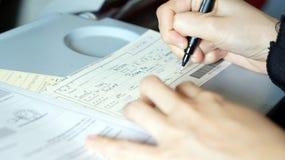 Imigraci formularzowy plombowanie na locie wizyta kraj Obraz Stock
