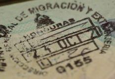 Imigracja znaczek w paszporcie, Honduras Obrazy Stock