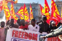 Imigrantes da demonstração e dos protestos Imagens de Stock